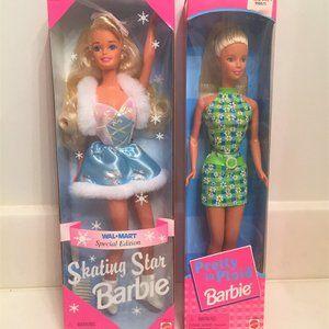 Lot/2 NRFB Barbie Dolls-Skating Star; Pretty Plaid
